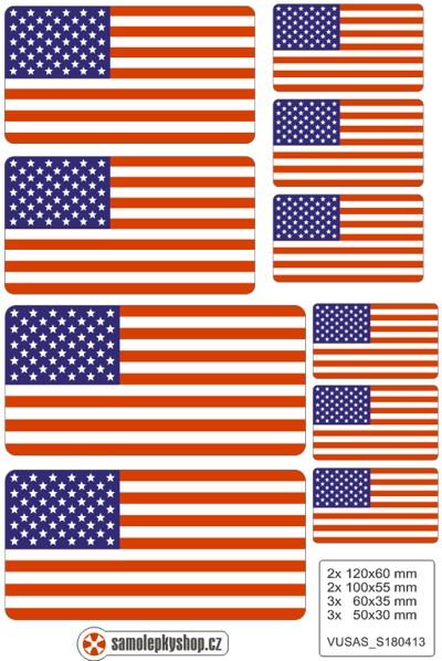 Vlajky USA, samolepky set. Vlajka USA na mobil