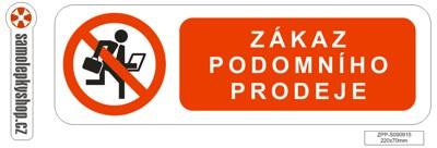 Zákaz podomního prodeje samolepka 22x7 cm Zákaz podomního prodeje samolepka 220x70 mm
