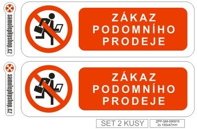 Zákaz podomního prodeje set 2x 15x4,7 cm Zákaz podomního prodeje set 2x samolepka 150x47 mm