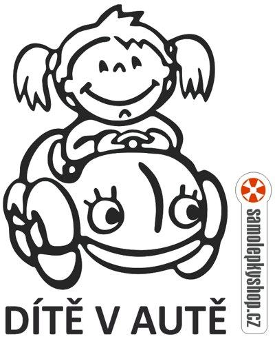 Dítě v autě, holka, řezaná samolepka Dítě v autě, holka, samolepka řezaná z folie.