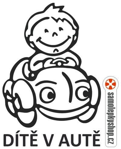 Dítě v autě, kluk, řezaná samolepka Dítě v autě, kluk, samolepka řezaná z folie.