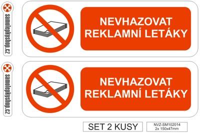 Nevhazovat reklamní letáky samolepka 2x 15x4,7 cm Nevhazovat reklamní letáky samolepka set 2x 150x47 mm. Nevhazovat reklamy.